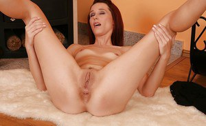 Rebecca Red takes down the undies and goes slutty with her peach