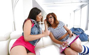 Latina lezzies April Oneil and Shyla Jennings eat out each others hairy muff