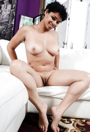 Ebony first timer Millie Stone showing off wide open cunt and big natural tits