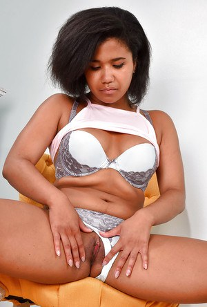 Black first timer Loni Legend removing skirt and panties to exhibit pink twat