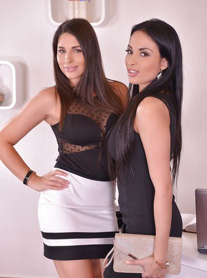 Beautiful females Anissa Kate and Zafira undress each other for lebsian sex