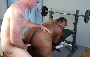 Ebony wife with fat forms Lyric works hard on white inches to shake them