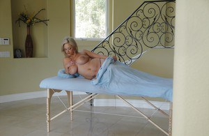 Busty blonde babe Kathy Cox real solo nudity scenes in sensual manners