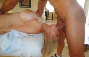 Chubby Kathy Cox gets man to rub her pussy and choke her with the cock