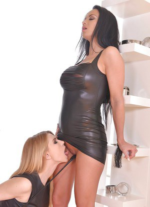 Samanta Blaze and Karina Grand lesbo fetish softcore in serious manners