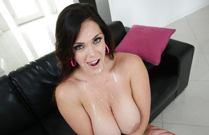 Big boobed brunette Alison Tyler getting fucked by large black penis on sofa