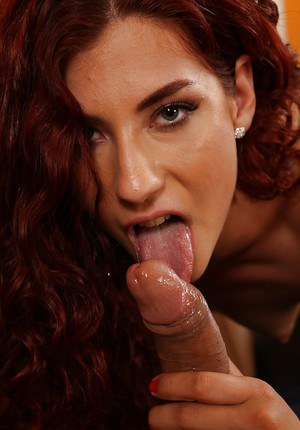 Euro redhead Shona River sucking and jerking cock before cum eating