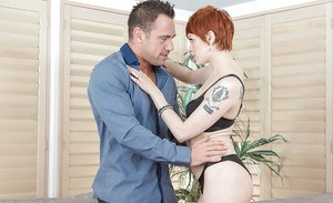 Short haired redhead wife Bree Daniels seducing sex in black nylons and bra
