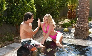 Sexy blonde wife Alexis Monroe seducing sex in wading pool with BJ
