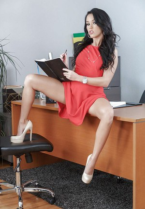 Teen secretary Megan Rain showing off perfect pussy after stripping in office