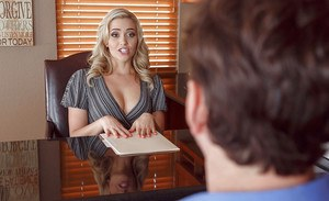 Blond office worker Mia Malkova gets naked while sucking off her boss at work