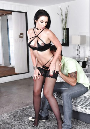 Hot brunette wife Gigi Allens seducing sex in black mini-skirt and stockings