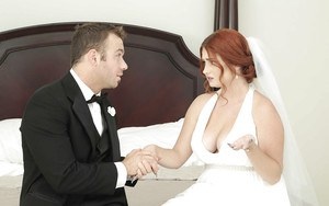 Fat redheaded chick Lennox Luxe banging cock in wedding attire