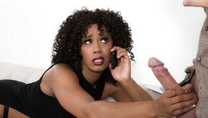 Black dime Misty Stone giving large cock oral sex before intercourse on couch