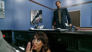 Busty secretary Isis Love sheds mini-skirt before fucking her boss at work