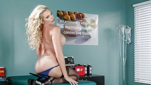 Blonde nurse Briana Banks stripping down to black stockings on exam table