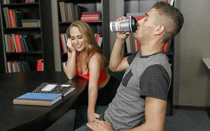 Sweet coed Carter Cruise surprising guy with a blowjob in library