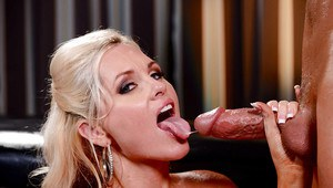 Blonde bombshell Alena Croft stripped and oiled by masseur before oral sex