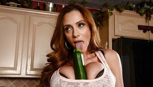 Big boobed Latina MILF Ariella Ferrera giving footjob and BJ at dinner table