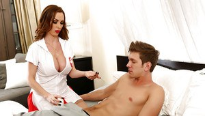 MILF nurse Nikki Benz blowing and jerking patient's large penis