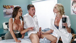 Hot female doctors Nikki Benz and Briana Banks have 3some with hung patient