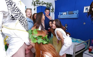 Redhead coed Gwen Stark sucking and fucking cock during dorm party