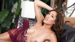 Latina pornstar Chloe Amour letting perky tits free from sheer lingerie
