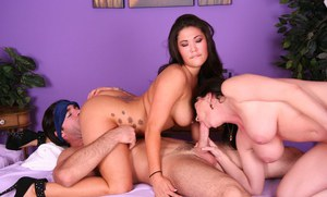 Cute brunettes London Keyes and RayVeness attack a throbbing dick with mouths