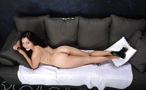 Teen amateur Leanna Lass unveiling tight ass and bald pussy while disrobing