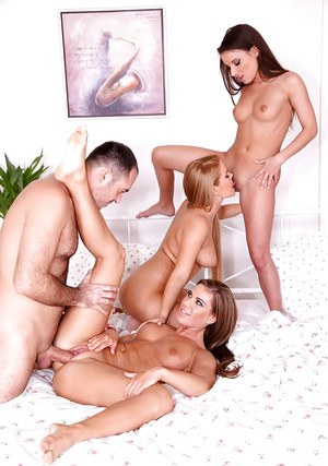 Lesbian European girls Anita Berlusconi, Athina and Lucy Dallas share a cock