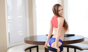 Teen seductress Skye West is glad to show off her round ass and flawless body