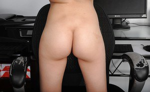 Slender teen babe Cora Ora gets completely naked to boast of her bald twat