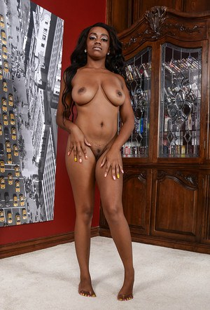 Big booty ebony babe with big tits Amber Cream amazing solo nudity