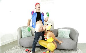 Hot chick Kelsi Monroe giving massive cock oral sex in cosplay attire