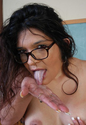 Mature schoolteacher Sophia eating jizz from hand after giving blowjob