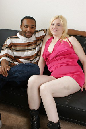 Blonde plumper Sparkle having interracial sex for first time