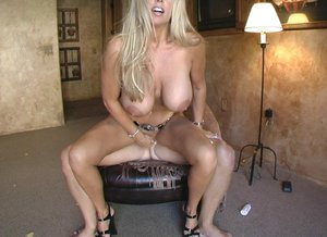 Big titted blonde housewife Sandra Otterson riding cock before cum facial