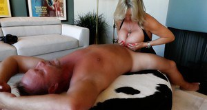 Chesty blonde housewife Sandra Otterson titty fucking big cock during sex