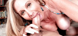 Mature blonde lady Jenna Covelli taking jizz in mouth after blowing big cock