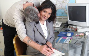 Mature with nice ass Sophia fucked by boss at the office in reality video