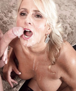 Older woman Dallas Matthews coaxing jizz from cock with tit fuck and blowjob