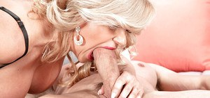 Intense scenes of heavy cock sucking with busty blonde mature Miss Deb