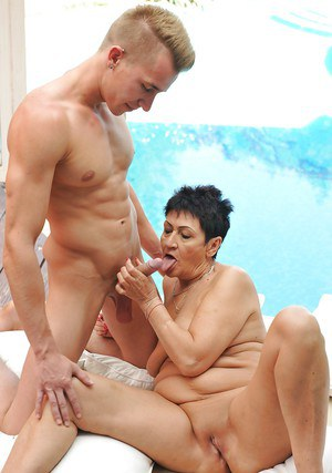 Granny Anastasia leaves young boy to choke her with his tasty dick