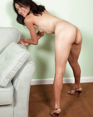 Thin aged Asian lady Sahara Blue sticking fingers in beaver after disrobing