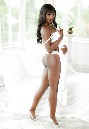 Black dime Ana Foxxx showing off great legs and ass while stripping naked