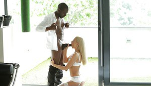 Blonde in white lingerie Tequila Girl takes on big black cock the hard way