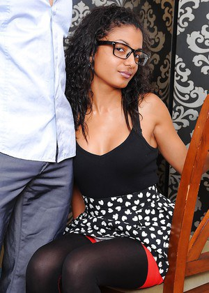 Curly ebony amateur Neela Sky gets white dude to ravish her furry black pussy