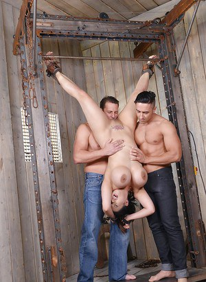 Busty Asian MILF Tigerr Benson suspended upside down for fucking by two men