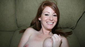 Redhead girlfriend Niki Rhodes having trimmed ginger pussy fingered and fucked