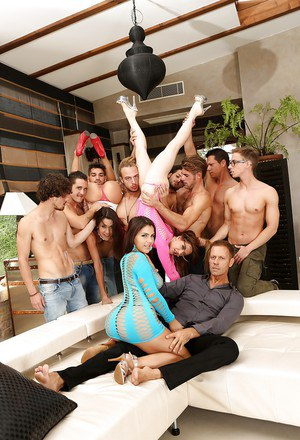 Wild orgy with horny males for three amazing pornstar with amazing forms